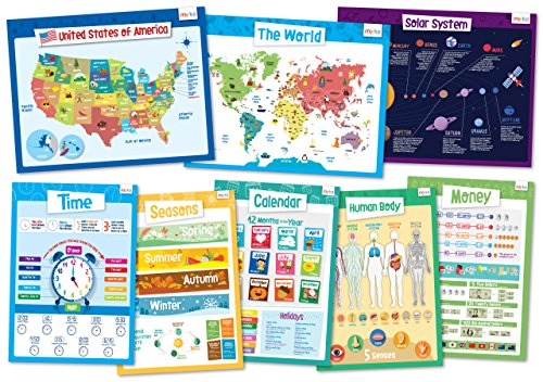 8 Educational Posters for Kids - Perfect for Kids Rooms or Schools Classrooms - Size 17x22 - Explorer Set