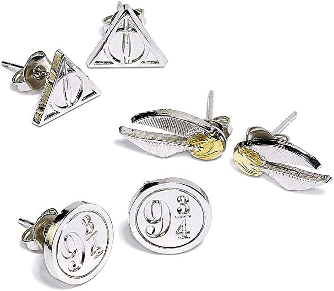 Harry Potter Earrings 3-Pack Snitch/Deathly Hallows/Platform 9 3/4 ...