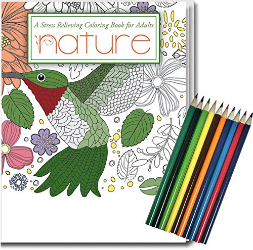 NATURE - Adult Coloring Book and Colored Pencils Set - 24 Intricate Stress Relieving Designs Safety Magnets ColSol-ACB-2100-NATURE-1-FP