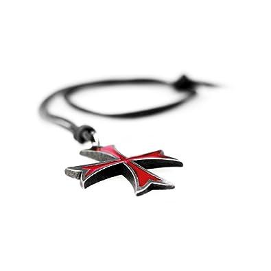 Assassins Creed Templar Symbol Necklace Pendant Medieval Cross Red