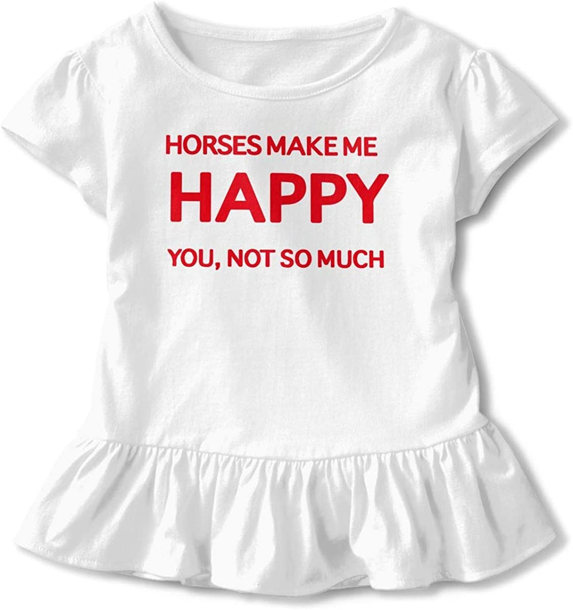 Toddler Baby Girl Horses Makes Me Happy You Not So Much Funny Short Sleeve Cotton T Shirts Basic Tops Tee Clothes