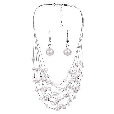 038f6166f Aaishwarya Floating White Multi Layered Pearl Necklace Set For Women/Girls