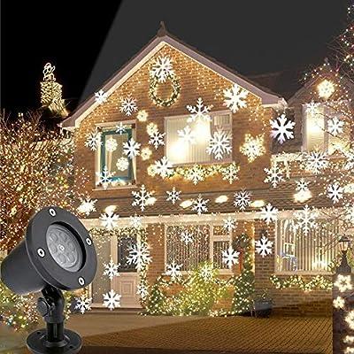 Decdeal Decoración de Navidad LED Copo de Nieve Proyector Luz ...