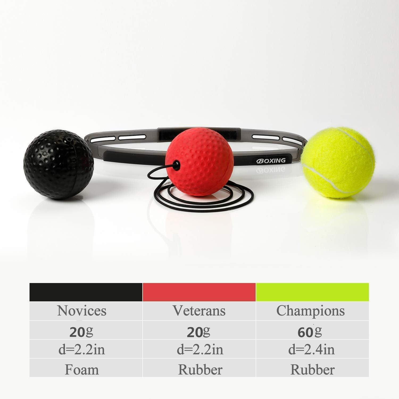 PYJR Reflejo de Boxeo 3 Bolas. Ball Fight Ball Reflex Correas de Silicona Ajustables para Mejorar Las reacciones y la Velocidad Ideal para Entrenamiento y Fitness
