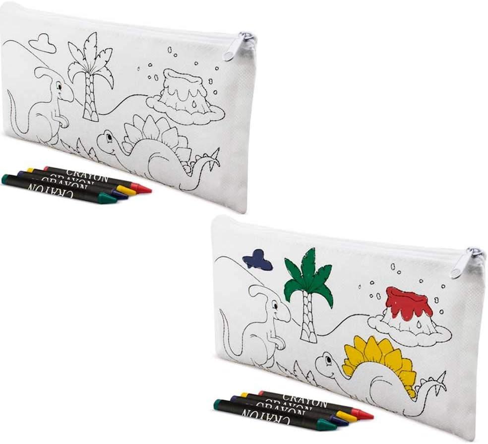 Lote 20 Estuches para Colorear Dinosaurios con 4 Ceras de Colores. Regalos Infantiles para cumpleaños. Detalles Infantiles para Eventos.