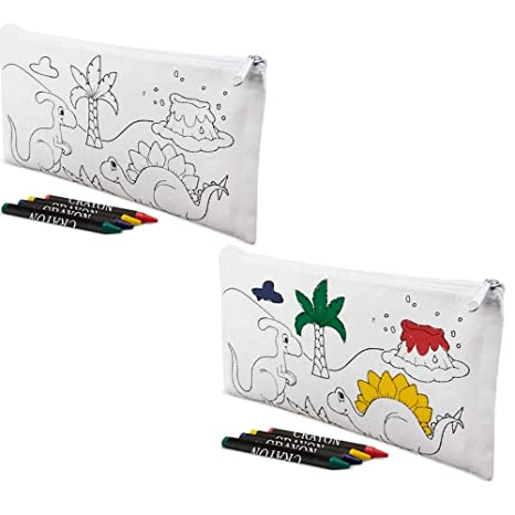 Lote 30 Estuches para Colorear Dinosaurios con 4 Ceras. Regalos para cumpleaños niños. Detalles Infantiles para colegios, guardería..