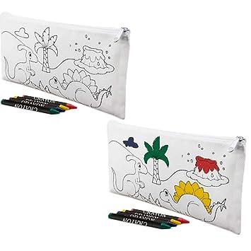 Lote 30 Estuches para Colorear Dinosaurios con 4 Ceras. Regalos para cumpleaños niños. Detalles Infantiles para colegios, guardería.