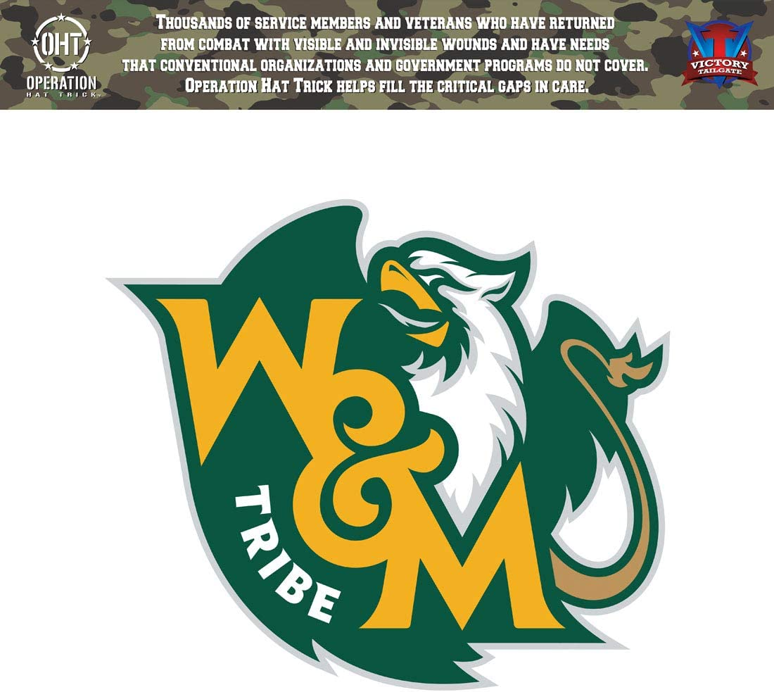 Victory Tailgate William /& Mary Tribe Operation Hat Trick OHT Die Cut Vinyl Decal