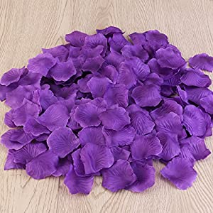 PIXNOR 1000pcs Silk Rose Petals Decorations for Wedding Party (Purple) 2