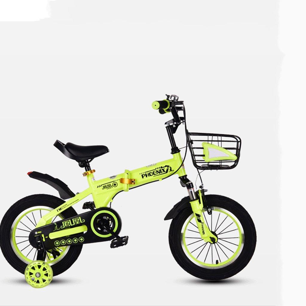 折りたたみ自転車の自転車のベビーバイク2-12歳の赤ちゃんのキャリッジ男性と女性の自転車 (色 : 緑, サイズ さいず : 18 inches) B07DBWHCJC緑 18 inches