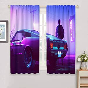 Backdrop Curtain for Bedroom Decor Sketchy Figure of car Drive movie Ford Ford Mustang men Colorsponge Carlos neon motel street road W63 x L63 Inch for Window Curtains Valances Rod Pocket curtian