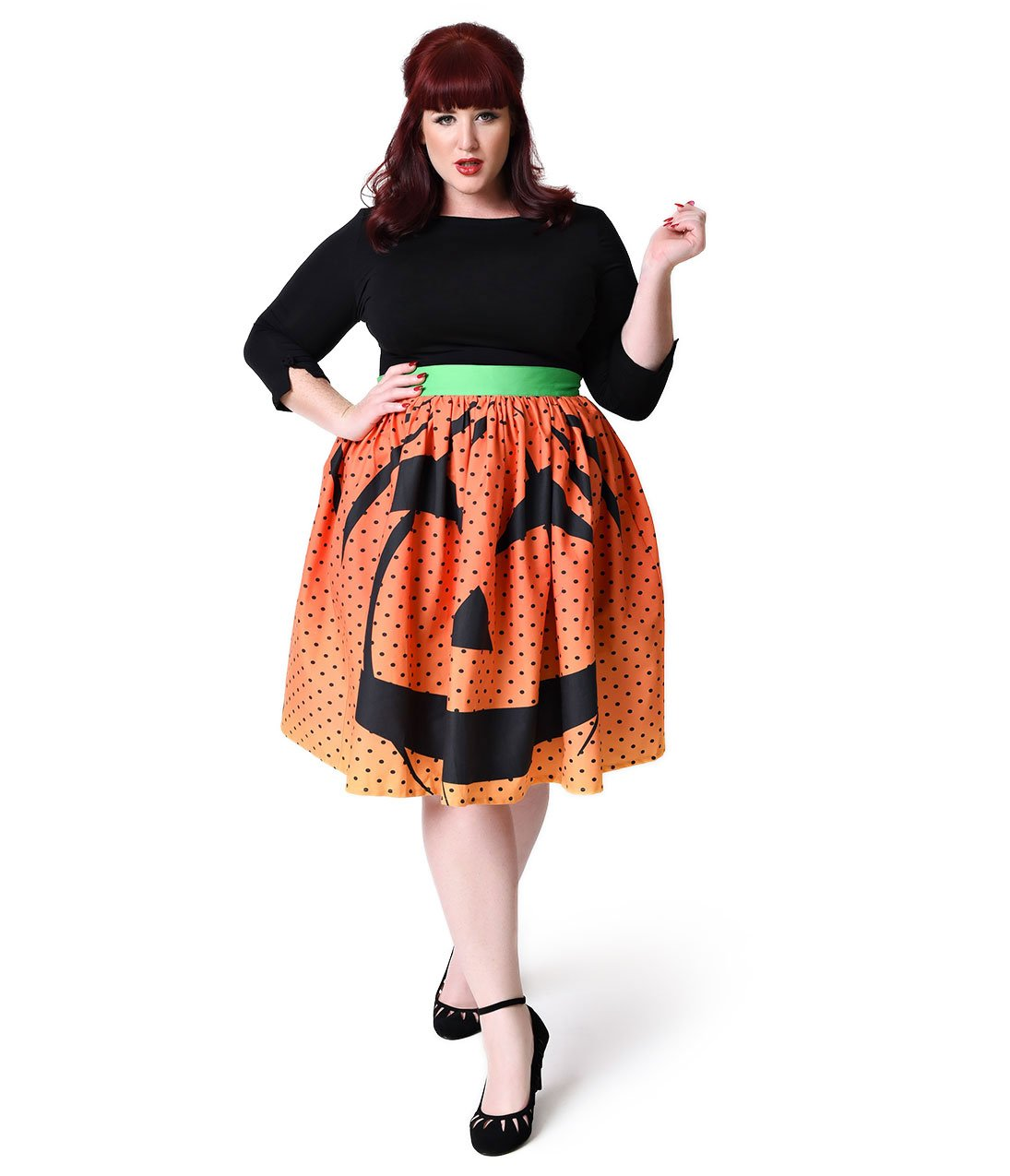 Unique Vintage Plus Size 1950s Orange Pumpkin Dot High Waist Circle Swing Skirt