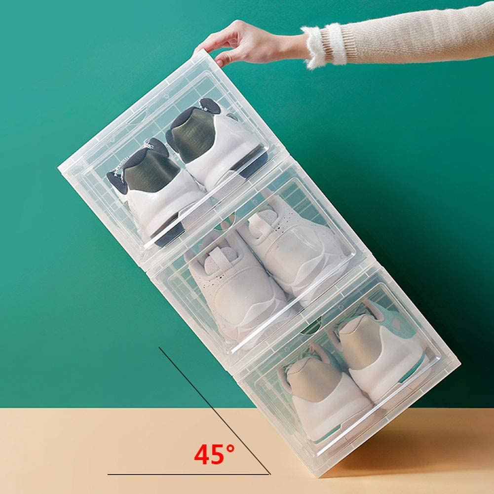 WDDLD Caja De Zapatos, Estante De Zapatos De Baloncesto De PláStico Transparente, Gabinete De ExhibicióN De Almacenamiento De Puerta Corrediza De AdsorcióN De ImáN 6 PCS-340×250×182mm