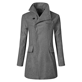 Amazon Com Winter Men Trench Coat Warm Thicken Jacket Long Overcoat