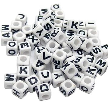 500Pcs White Black Alphabet Letter Beads 6mm Acrylic Jewellery Making Beads DIY