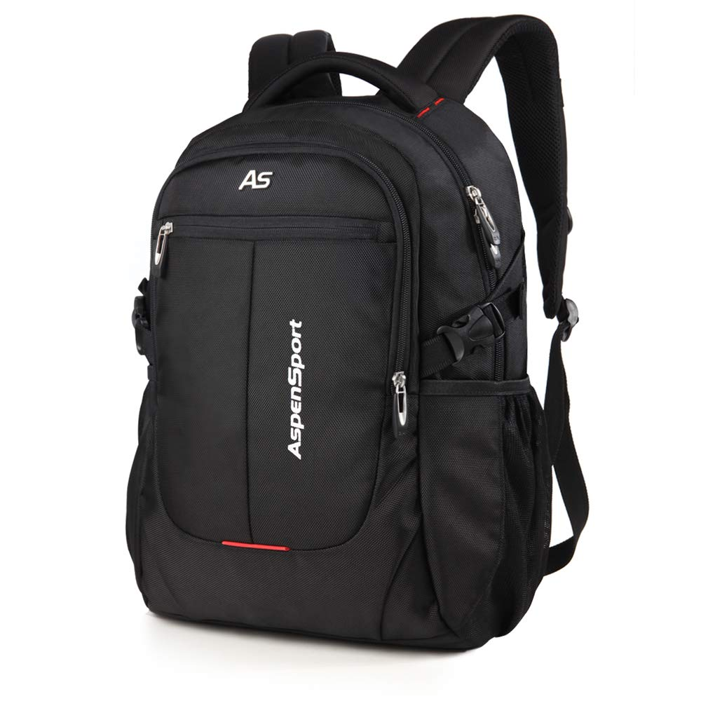 ASPENSPORT Laptop Backpack Fit 15.6 Inch Computer College Student Bookbag Big Business Travel Waterproof Durable Daypack for Men and Women Black by ASPEN (Image #2)