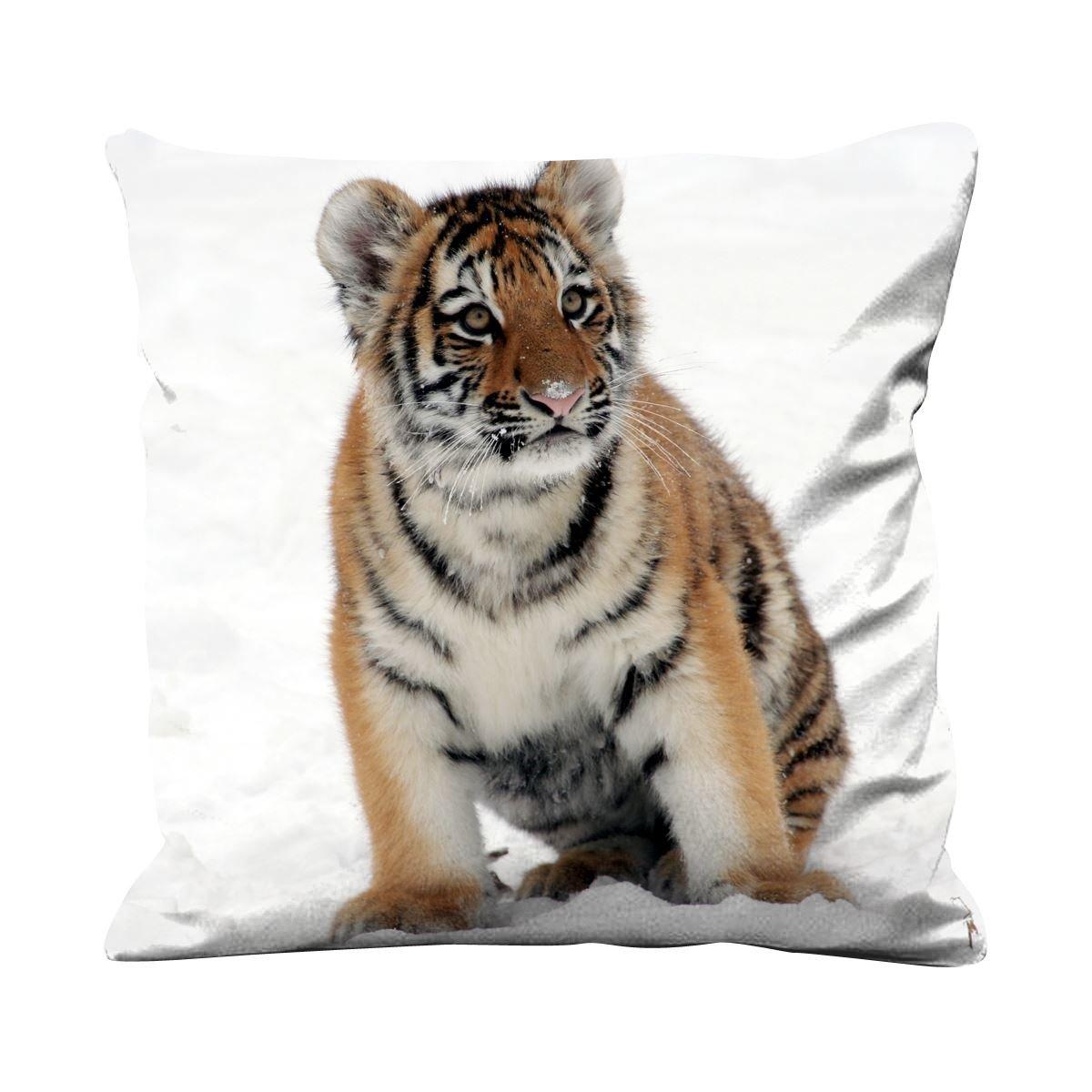Amazon.com: Tigre en la nieve 17.7 x 17.7 inch de seda ...