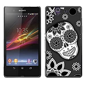 Impact Case Cover with Art Pattern Designs FOR Sony Xperia Z L36H Skull Flowers Wallpaper Floral Smile Betty shop