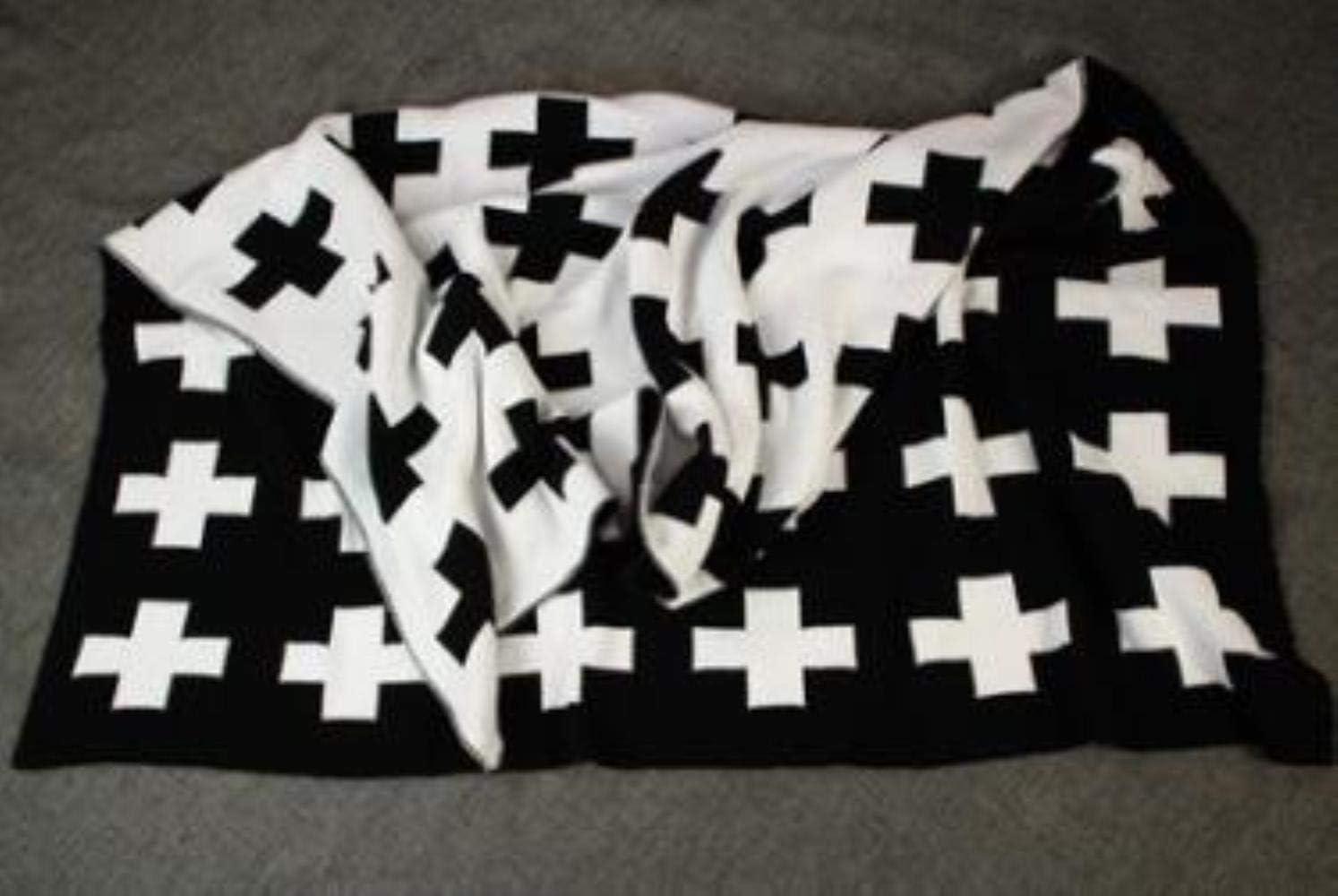 SELLA Manta Cruzada de algodón en Blanco y Negro Recién Nacido Swaddle Ropa de Cama para bebés Mantas Tejidas para bebés, Cruzadas, 70x100cm