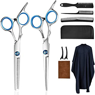 Hair Cutting Scissors Kits,10 Pcs Stainless Steel Hairdressing Shears Set Professional Thinning Scissors For Barber…