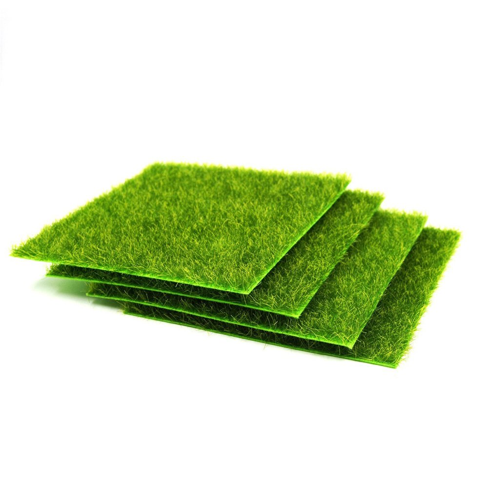 4 Pcs Life-like Fairy Artificial Grass 6''x 6'' Miniature Ornament Garden Dollhouse