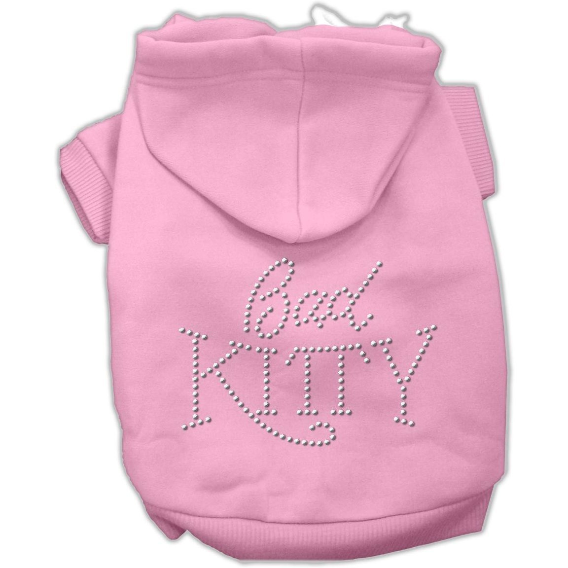 Mirage Pet Products 8-Inch Bad Kitty Rhinestud Hoodie, X-Small, Pink