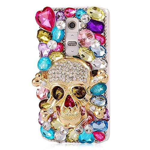 LG K7 Case, LG Tribute 5 Case, LU2000 3D Crystals Diamond Sparkle Bedazzled Jeweled [Skull Series] Bling Phone Snap-on Hard Case Cover for LG K7/Tribute 5 Verizon & Sprint T-mobile - Halloween Decor (Jeweled Lg Tribute Case)
