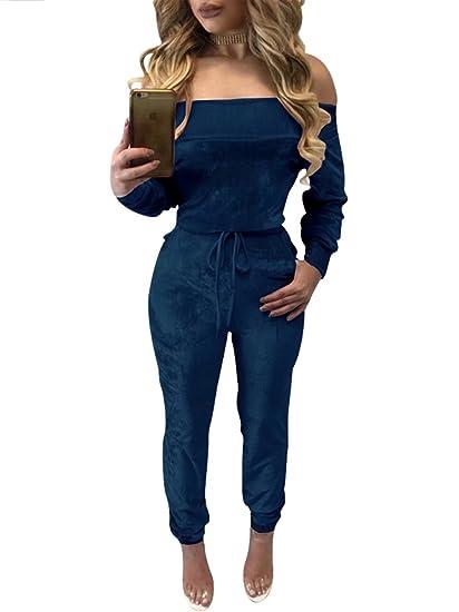 7ed927459c Women s Sexy Off Shoulder Long Sleeve Shiny Velvet Party Jumpsuit Rompers  Blue S