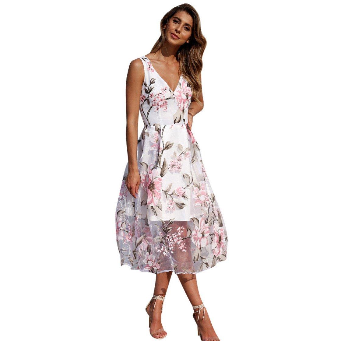 Mose Long Maxi Dresses for Women, Women's Sleeveless Floral Print Mesh Fashion Beauty Elegant Tops Bohemian Casual Mini Dress New (L, White)