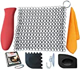 xl griddle - KitCast (6 in One + e Book)- Cast Iron Cleaner XL 8x6 Premium Stainless Steel Chainmail Scrubber With Bonus Iron Skillet Handle Holder + Pan Scraper + Grill Scraper + Kitchen Towel + Drying Hook