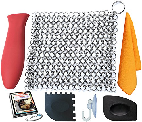 KitCast (6 in One + e Book)- Cast Iron Cleaner XL 8x6 Premium Stainless Steel Chainmail Scrubber With Bonus Iron Skillet Handle Holder + Pan Scraper + Grill Scraper + Kitchen Towel + Drying Hook (Handle Skillet Set)