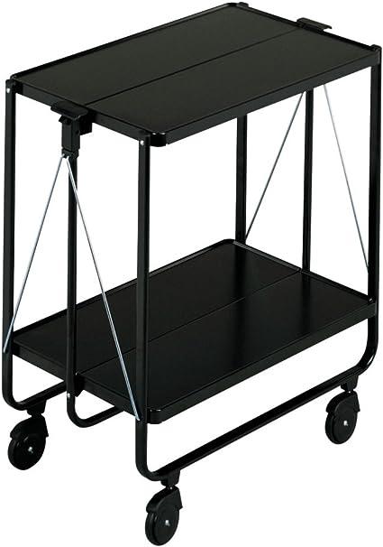 leifheit side car noir desserte a roulettes simple a monter et demonter avec table pliante tres elegante chariot pliable supportant jusqu a 30 kg