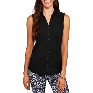 088716e8 Brooke Leigh Women's Lace Back Sleeveless Shirt Blouse at Amazon Women's  Clothing store: