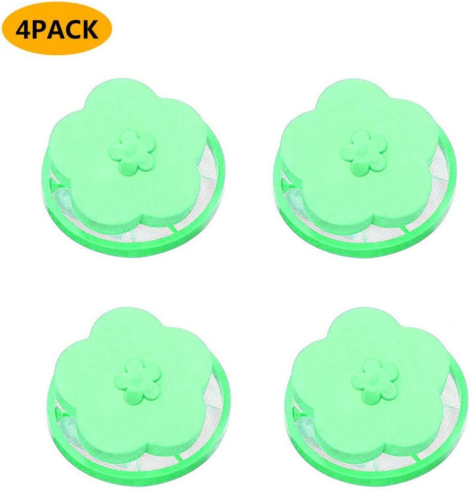 Makaor Washing Machine Universal Float, Filter Bag Laundry Ball, Floating Pet Fur Catcher Filtering Hair Removal Device Wool Cleaning Supplies (Green(4 Pcs))