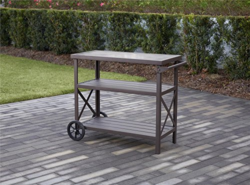 Cosco Outdoor 3 Shelf Cart, Hand Painted Aluminum, Dark (Patio Table Grill)