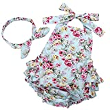 #8: Fubin Baby Girl's Floral Print Ruffles Romper Summer Clothes With Headband