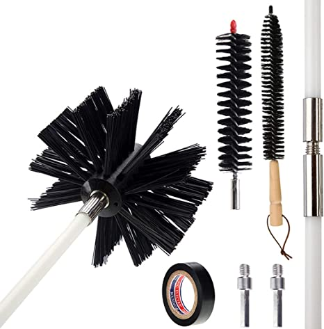 Dryer Vent Cleaning Kit Fireplace Chimney Brushes with 4 Rods Lint Remover