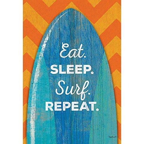 Eat Sleep Surf Repeat Surfboard Orange Chevron 30 x 44 Large House Flag