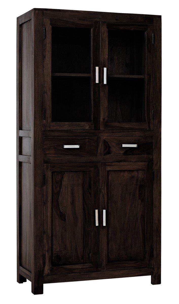 SAM® Vitrine Wiam 1504 aus stonefarbenem Sheesham Palisanderholz geöltes Massivholz Handgearbeitet 88 cm breit Lieferung mit Spedition fertig montiert