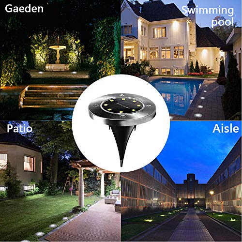 Solar Ground Lights (6 Pack), Solar Powered Ground Lights 8 LED Outdoor Solar Disk Lights, Upgraded Waterproof In-Ground Landscape Lights, for Patio Lawn Pathway Yard Driveway Step and Walkway
