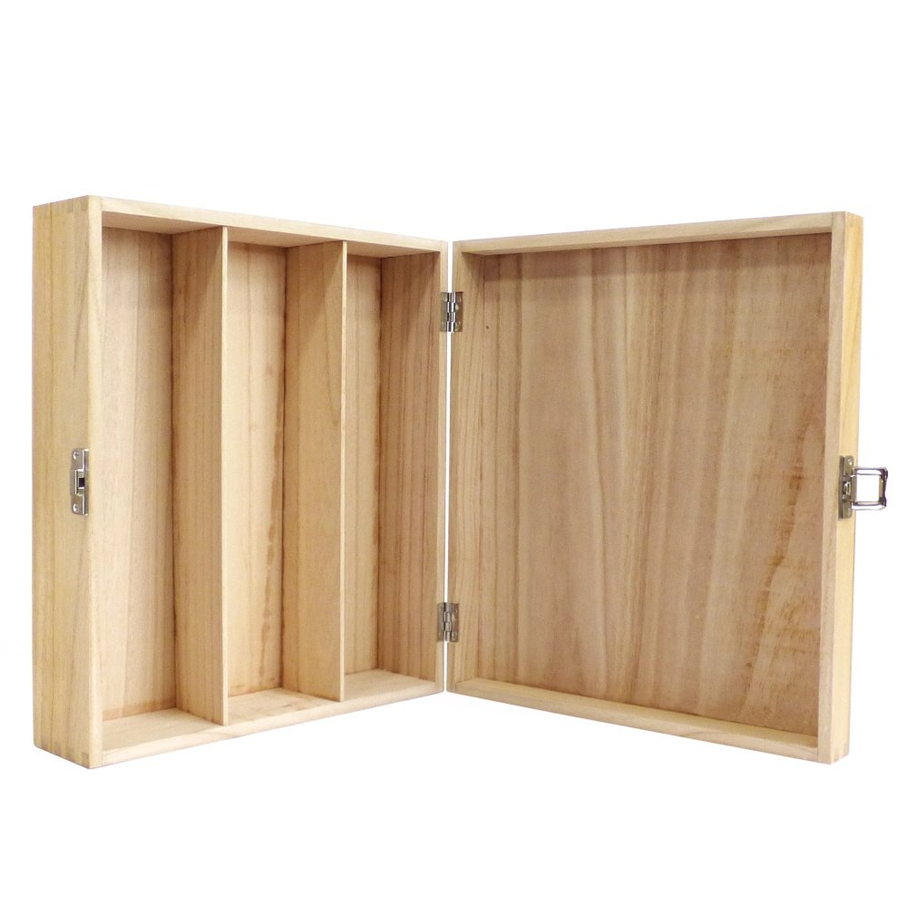 Gift ideas for Christmas Trinkets Birthday Wooden Wine Carrier Storage box Case holds 3 Bottles finished in a Clear Varnish