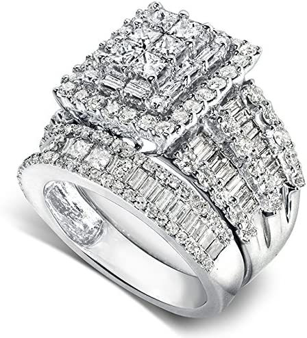 Kobelli Diamond Engagement Ring and Wedding Band Set 2 3/5 carats (ctw) in 14K White Gold