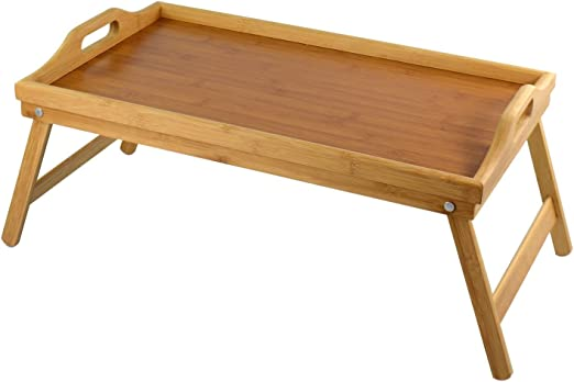 Bandeja de TV de bambú con asas y patas plegables – mesa de ...