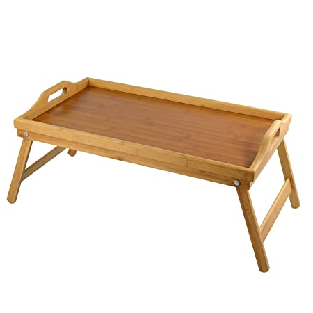 ASAB Bamboo Serving TV Tray With Handles And Folding Legs   Dinner Table  For Sofa And