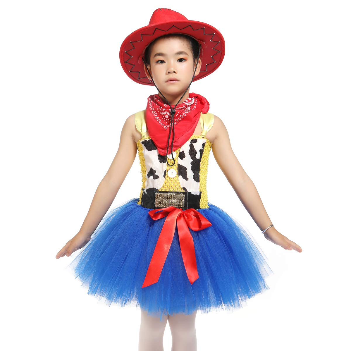 Girls Jessie Fancy Dress Up Cowgirl Costume Tutu Dresses with Bandana Princess Fancy Halloween Birthday Party Outfit (S)