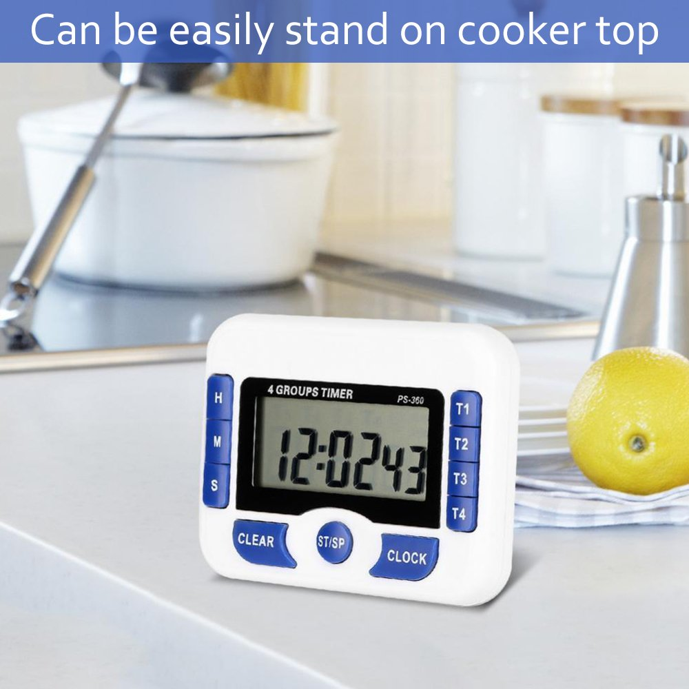 Count Down Timer Multi-function 4 Channels Digital Kitchen Cooking Timer 4 Groups Set Magnetic Laboratory Meeting Timer with Digital Alarm Clock Function