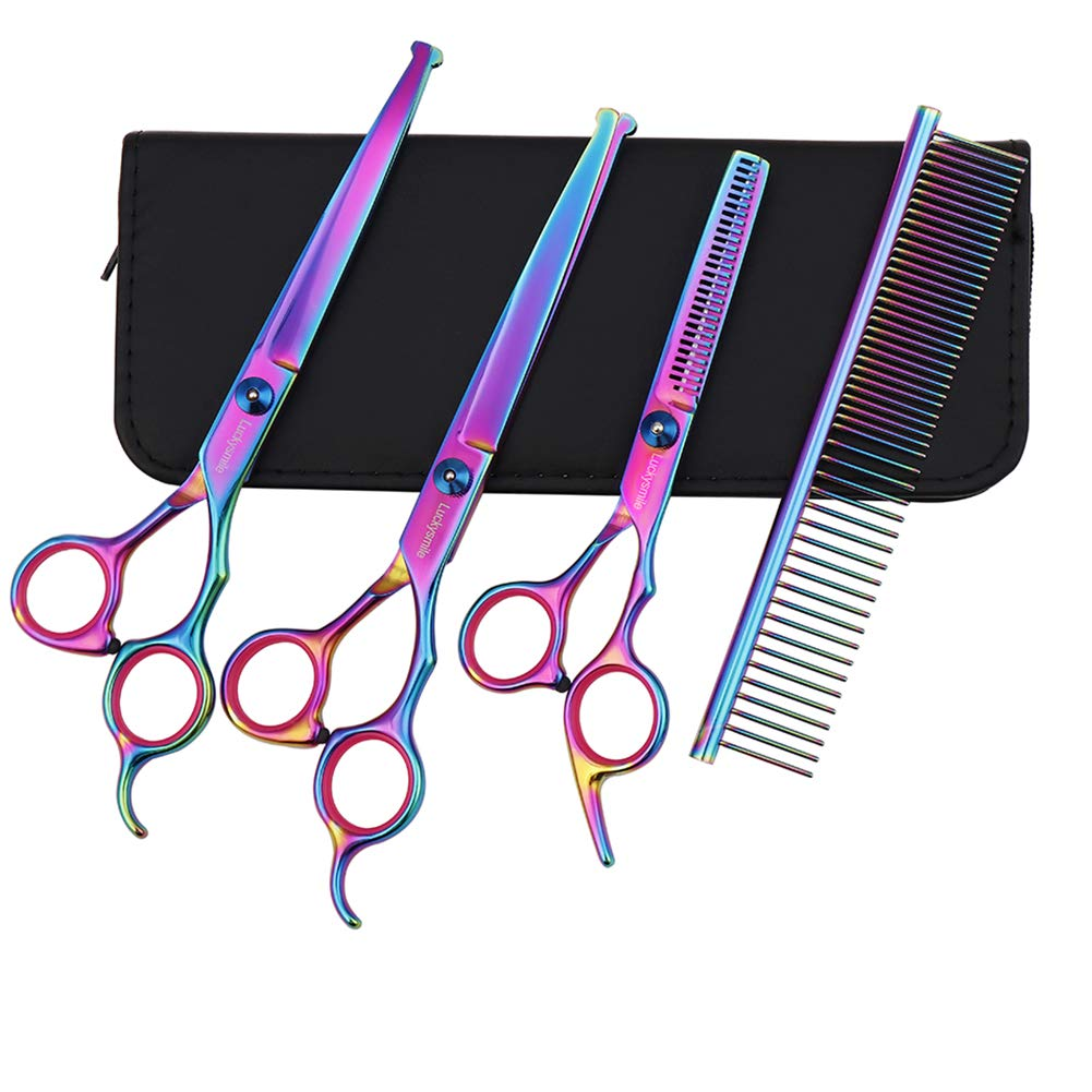 Luckysmile Dog Grooming Scissor Set,Stainless Steel Safety Round Tip Sharp Durable Shears with Pet Grooming Comb for Dogs,Cats and More Pets, Best Pet Grooming Shears for Full Body