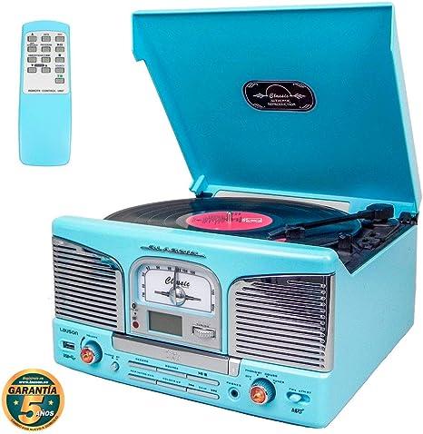 Lauson Tocadiscos Retro Bluetooth y MP3, para CD, USB con Radio FM ...
