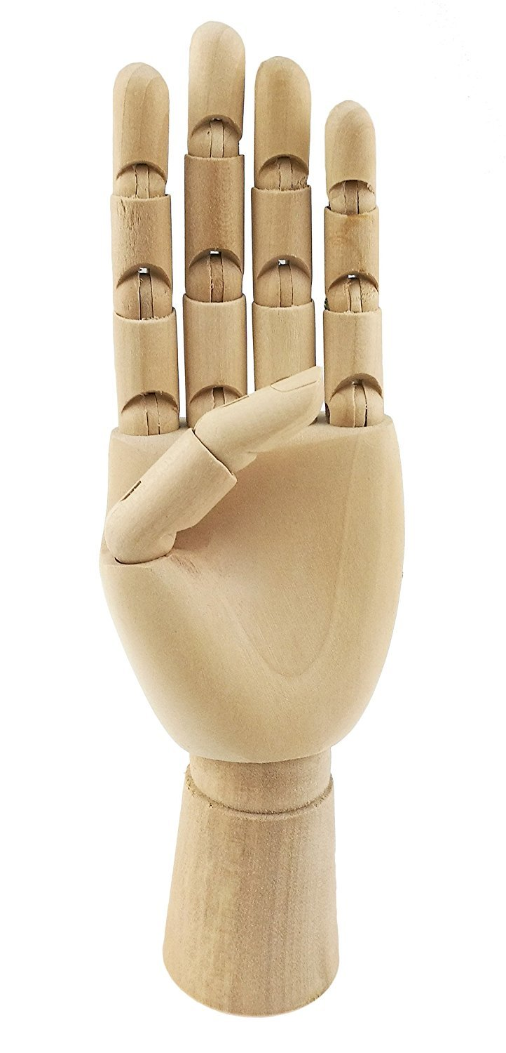Wooden Pine Movable Hand Joint Model For Art Mannequin Sketch Reference Home Decor (12 Inches-Right Hand) Ahkea