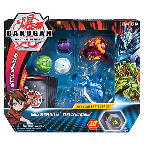 Pack Character Bakugan - Bakugan, Battle Pack 5-Pack, Pyrus Maxotaur and Aquos Mantonoid, Collectible Cards and Transforming Creatures, for Ages 6 and Up